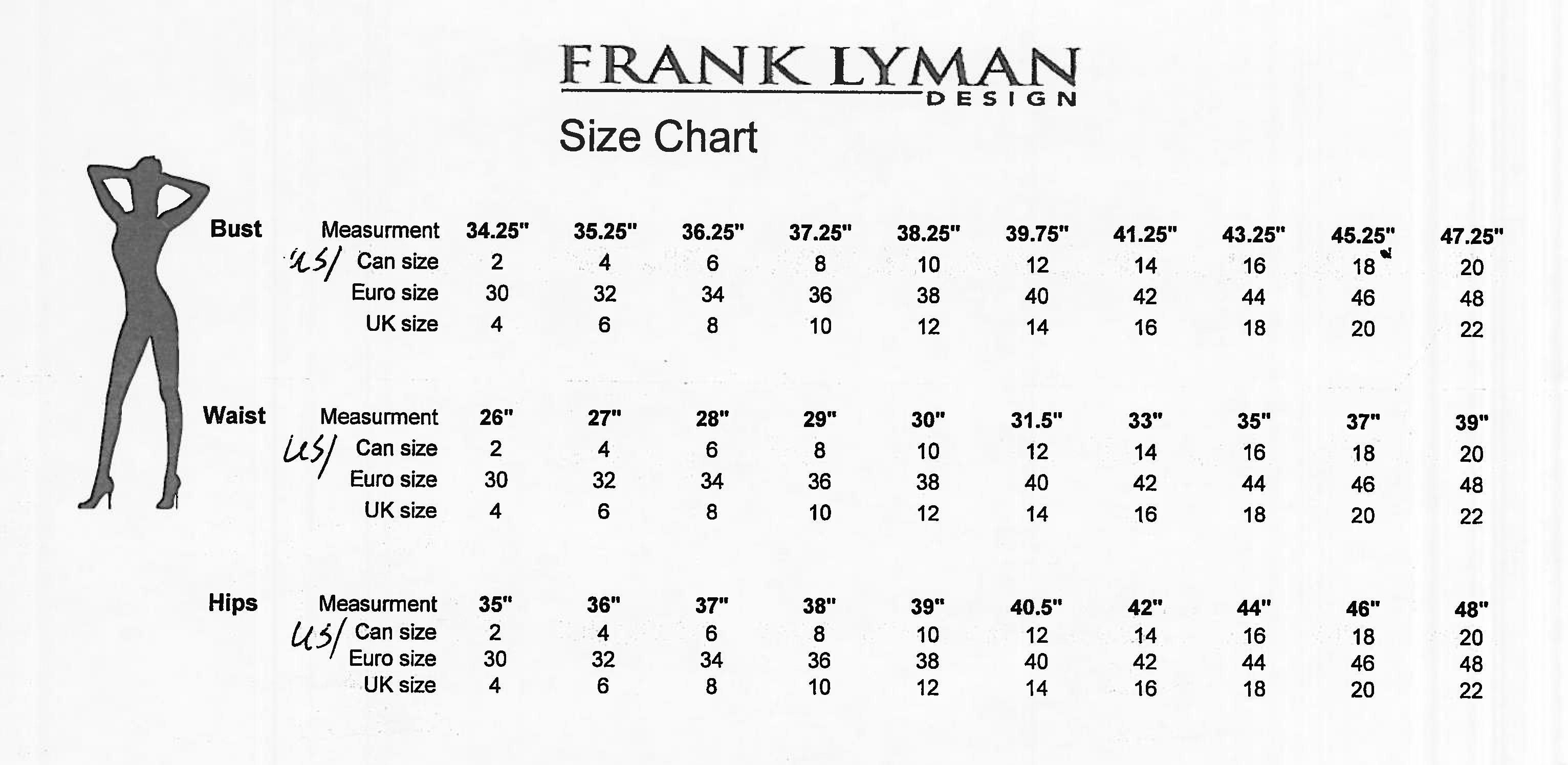 Frank Lyman Size Chart Best Dresses 2019