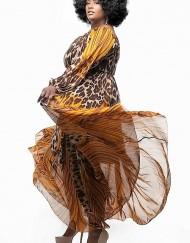 Leopard Print Cold Shoulder Maxi - Critique' Boutique