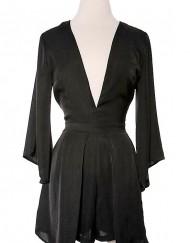 Black Long Sleeve Romper - Critique' Boutique