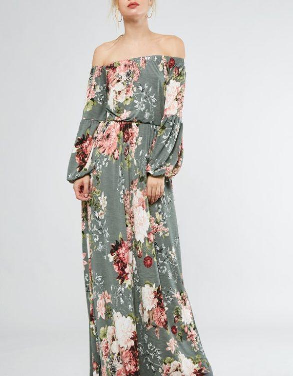 Off Shoulder Floral Maxi Dresss - Critique' Boutique