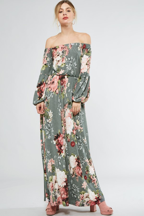 Off Shoulder Floral Maxi Dresss – Critique' Boutique