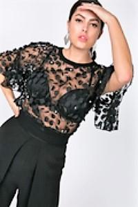 Shear 3d Flower Fabric Black Crop Top - Critique' Boutique