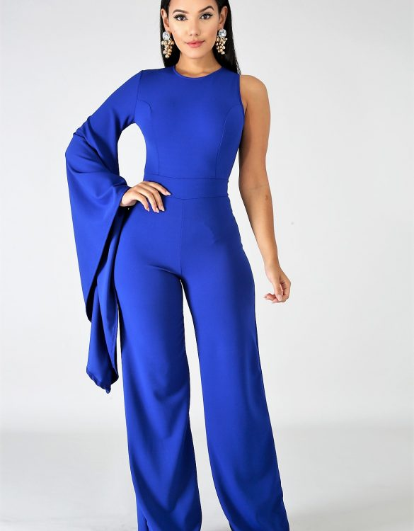 Dramatic One Bell Sleeve Jumpsuit - Critique' Boutique