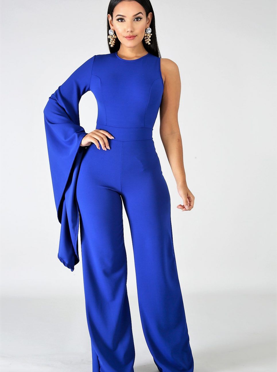 Dramatic One Bell Sleeve Jumpsuit – Critique' Boutique