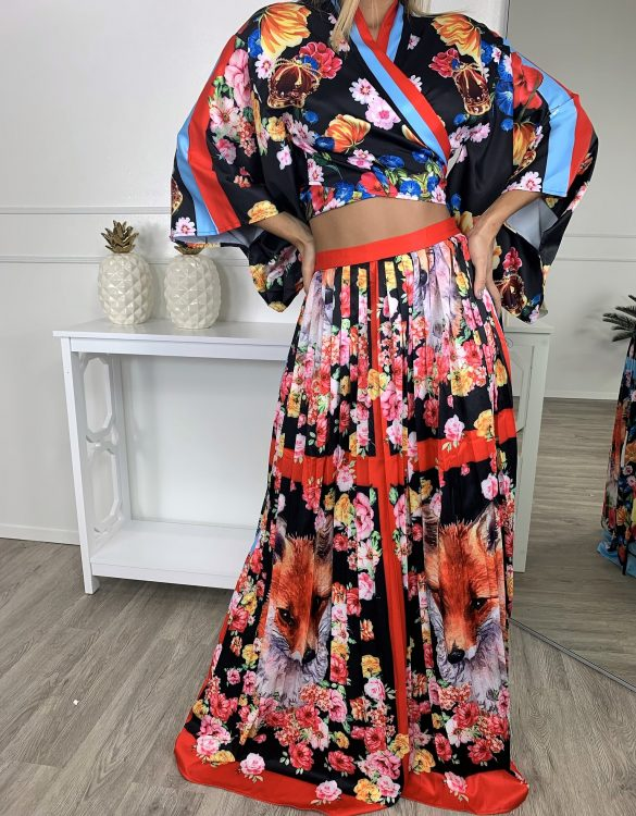 Colorful Asian Inspired Two Piece Skirt Set - Critique' Boutique