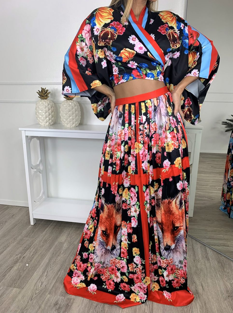 Colorful Asian Inspired Two Piece Skirt Set – Critique' Boutique