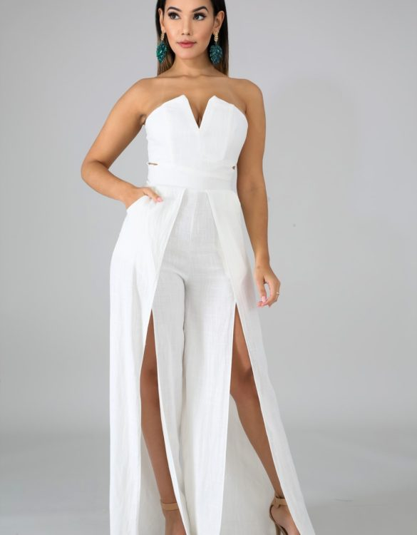 White Front Slit Tube Jumper - Critique' Boutique